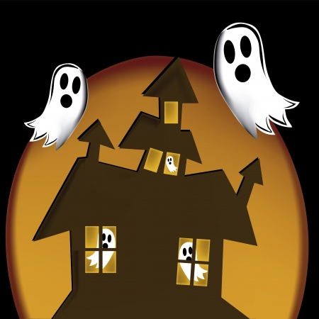 black ghosts in halloween scaring a brown house in an orange background