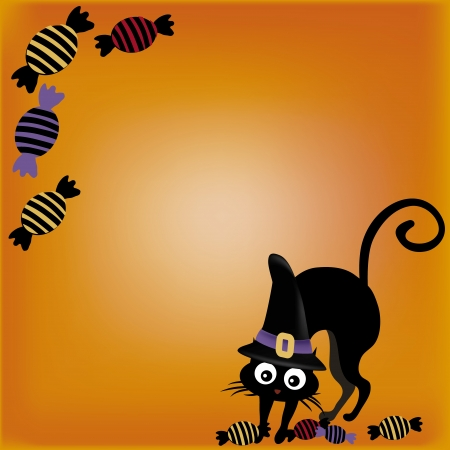 a black cat with a black hat and some candies in a yellow background