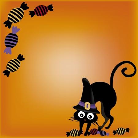 black hat: un gato negro con un sombrero negro y algunos dulces en un fondo amarillo Vectores