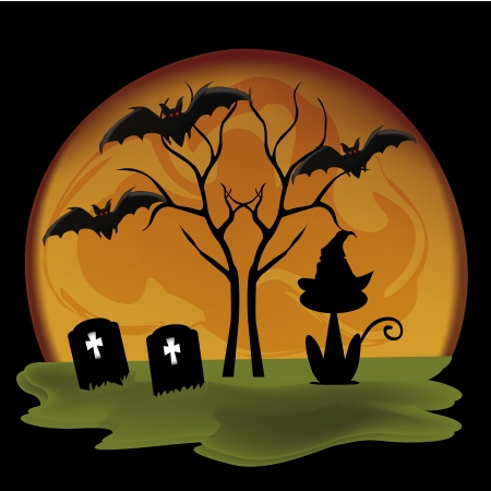 a lot of black silhouttes of halloween icons in a  yellow moon Illustration