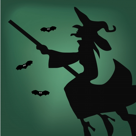 a black silhouette of a witch flying with some bats Vector
