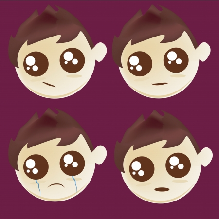 dissapointed: four icons of facial expressions of a kid in a purple background