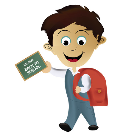 a happy boy with a red bag going back to school Vector