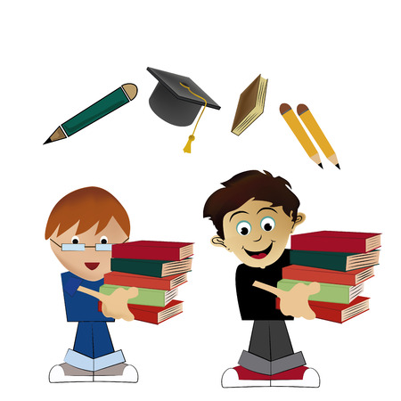 two boys carrying some books going back to school Vector