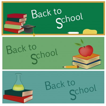 elementary age: three different board with different color welcoming students Illustration