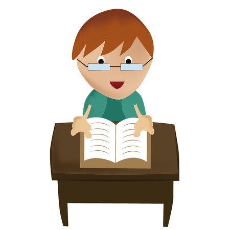novice: a happy boy with glasses reading a book in the school