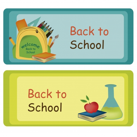 two different boards with different colors welcoming students Vector