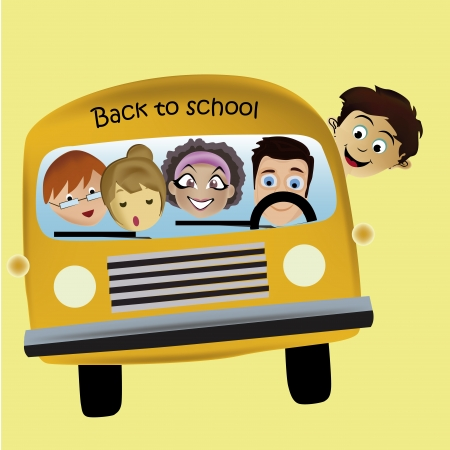a yellow bus with some students going to school Vector
