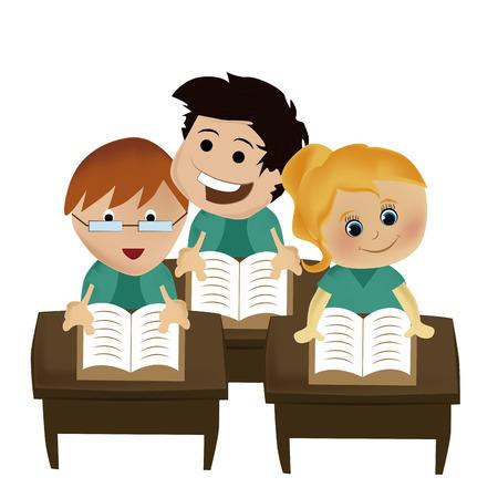 novice: three kids reading some books in the school
