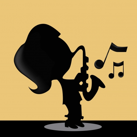 a silhouette of a girl playing saxophone Vector
