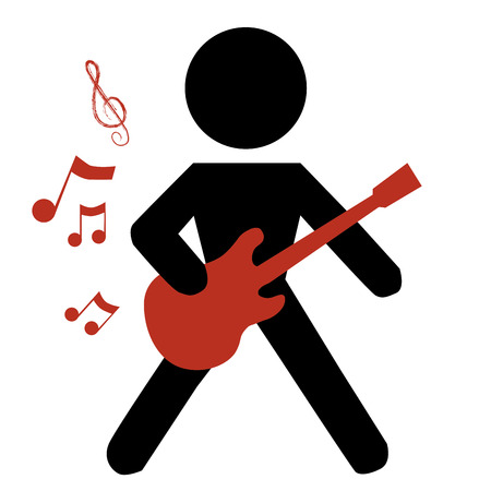 boy playing guitar: the silhouette of a boy playing the guitar in white background Illustration