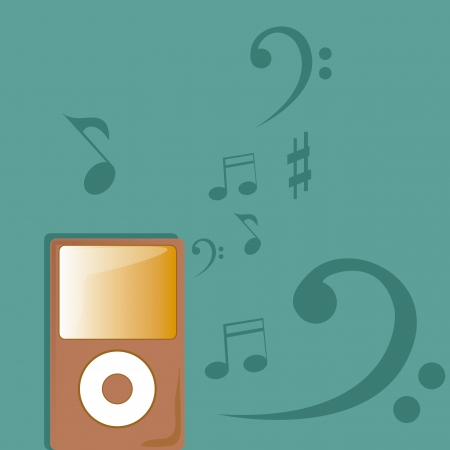 a pink music player in a blue textured background Stock Vector - 22897753