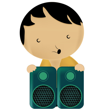 black hair blue eyes: a little beautiful boy singing with a pair of blue speakers