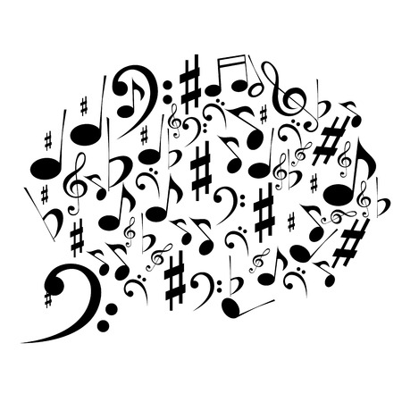 a brain composed by only black notes in white background Vector