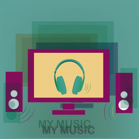 a flat screen pink monitor with big speakers in blue textured background Vector