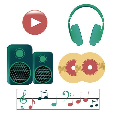 pentagramma musicale: cinque icone colorate di un pulsante di riproduzione, cuffie, altoparlanti, vinili e un pentagramma Vettoriali