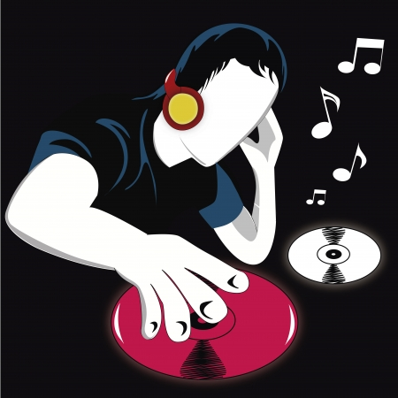 dj equipment: a man with headphones playing some vinyls as a dj Illustration