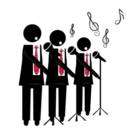 three black silhouettes of a choir with microphone singing to the background
