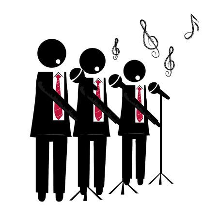 trzy czarne sylwetki chór z mikrofonem na tle śpiew