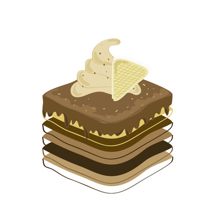 a piece of chocolate cake in white background Stock Vector - 22897936