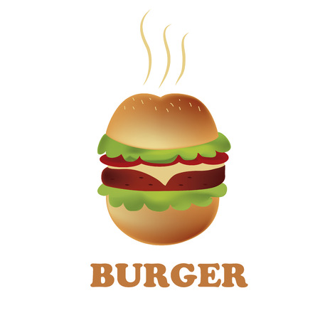 a round and delicious hamburger in a white background