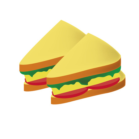 a pair of delicious sandwiches with tomato cheese and vegetables Vector