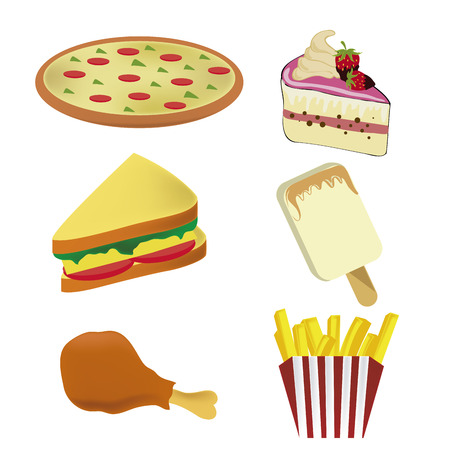 six icons of fast food representing a pizza, ice cream, cake, sandwich, french fries and a chicken