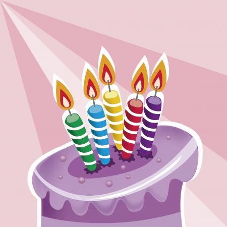sweetmeats: una deliciosa torta de nacimiento p�rpura con algunas velas Vectores