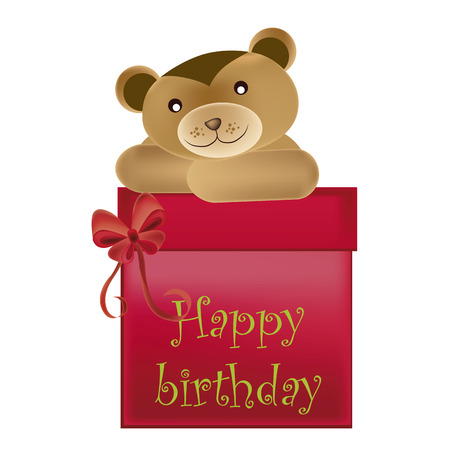 a happy teddy bear with a red box wishing happy birthday to you Vector