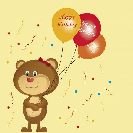 a happy teddy bear with some balloons wishing happy birthday Vector