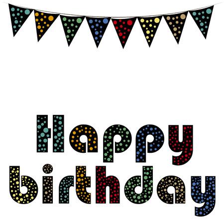 rejoicing: un testo di felice compleanno con un sacco di colori in uno sfondo bianco Vettoriali