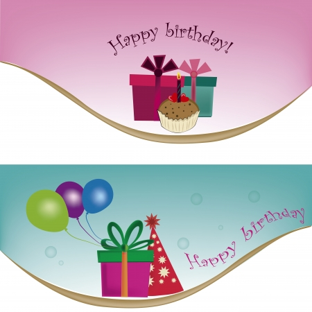 two different templates for happy birthday with a lot of related stuff Illustration