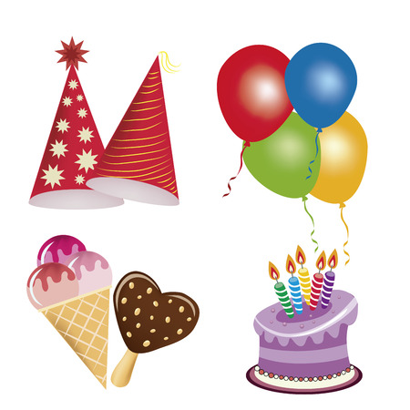 four icons related to happy birthday with some colors Vector