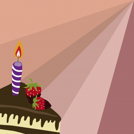 sweetmeats: a delicious chocolate birthday cake with some candles and strawberries Illustration