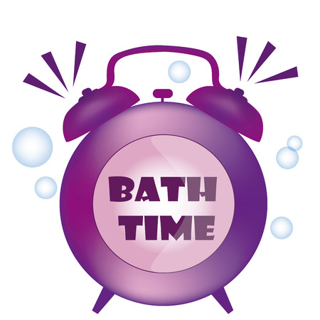 bath time: a purple bath time clock with some bubbles Illustration