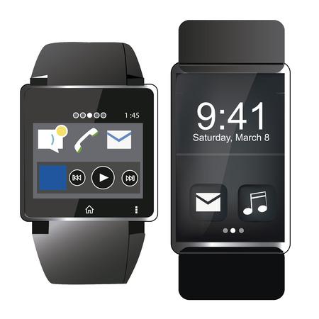 two different kind of smart clocks in black design