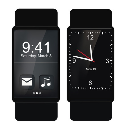 two different wearable black smart clocks in white background Illustration