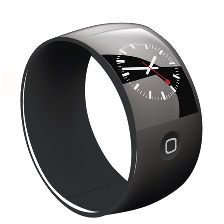 a black wearable smart clock with one button in white background