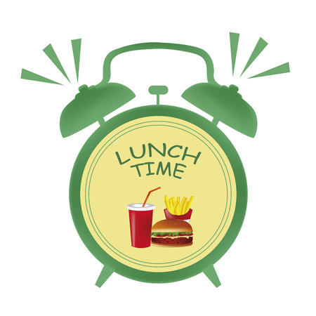a green clock indicating it is time for lunch with some food in its center Vector