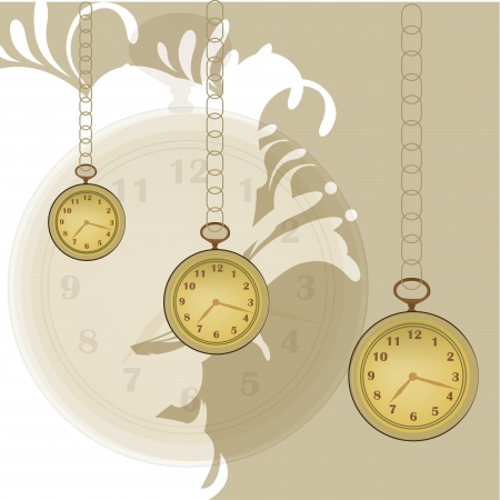 three pocket clocks with chains in a patterned background
