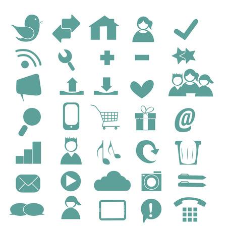 thirty five: trentacinque icone blu di pagine web a sfondo bianco Vettoriali