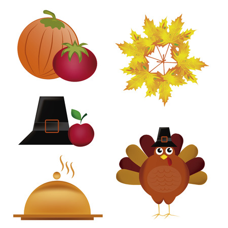 five icons related to thanksgiving day in united states Vector