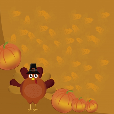 a turkey with a black hat and some pumpkins in thanksgiving day Ilustrace