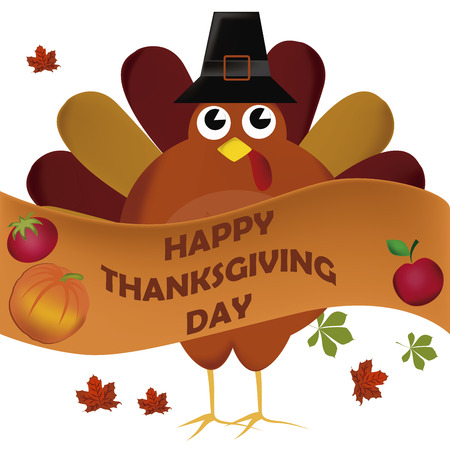 a turkey with a black hat and a ribbon in thanksgiving day Vector