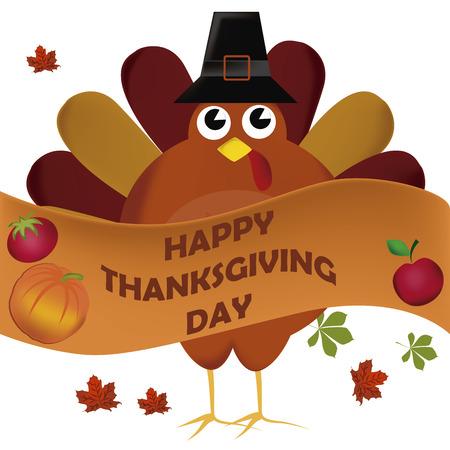 accion de gracias: un pavo con un sombrero negro y una cinta de acci�n de gracias d�a