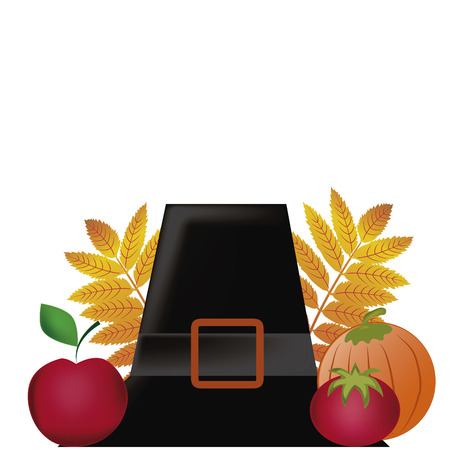 a hat with an apple, tomato and a pumpkin in thanksgiving day Vector