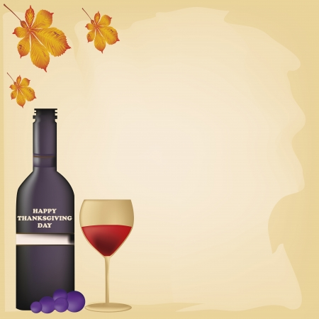 a bottle of wine with a glass and some grapes and leafs Vector