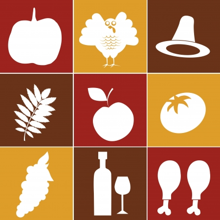 nine white silhouettes for thanksgiving day in yellow red brown background Vector