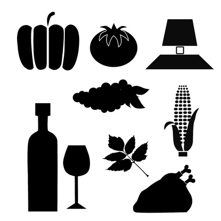 nine black silhouettes of thanksgiving day related stuff Vector