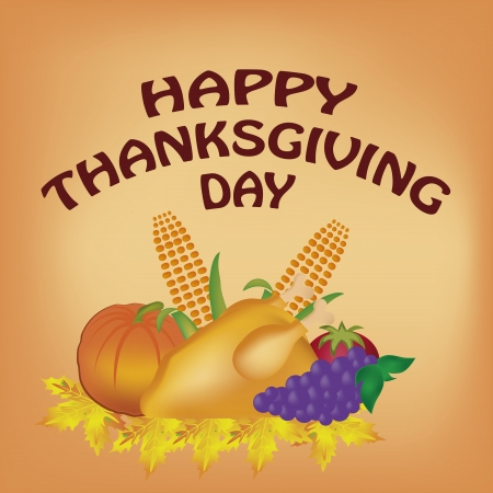 food for thanksgiving day in a dish of leaves and some text Vector